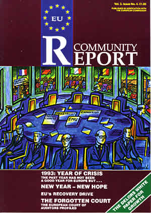 Fig. 12: Cover illustration for EU Community Report, December 1993. The image was a response to an article that summarised problems within the European Union, especially unemployment.