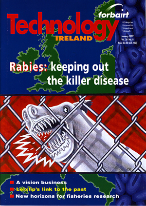 Fig. 8: Cover illustration for Technology Ireland, January 1997, edited by Mary Mulvihill. The image was a response to an article by Coilin MacLochlainn that was outlined the possibility of Rabies spreading from Mainland Europe to Ireland and the consequences of this.