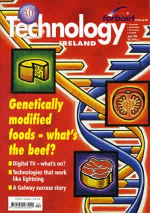 Fig. 5: Cover illustration for Technology Ireland, April 1998, edited by Mary Mulvihill. The image was a response to an article that outlined possible consequences regarding the introduction of genetic food farming.